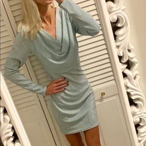 NWT ASOS sparkly light blue cowl neck dress